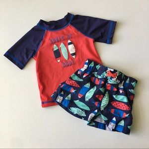 CAT&JACK Baby Boy 12m Surfer Swim Trunk Set